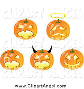 Illustration Vector of Halloween Pumpkins in Different Poses by Vector Tradition SM