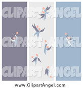 Illustration Vector of Purple Gray and Blue Love Angel Banners by Elena