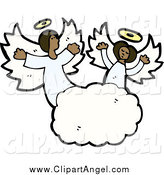 Illustration Vector of Singing African American Angels in the Clouds by Lineartestpilot