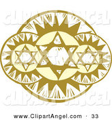 Illustration Vector of Three Holy Stars with Halo in Front of the Sun, with a Carved Texture by Xunantunich