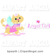 Prancing Angel Cat Wearing a Pink Shirt, with Wings, a Halo and Angel Girl Text by Bpearth