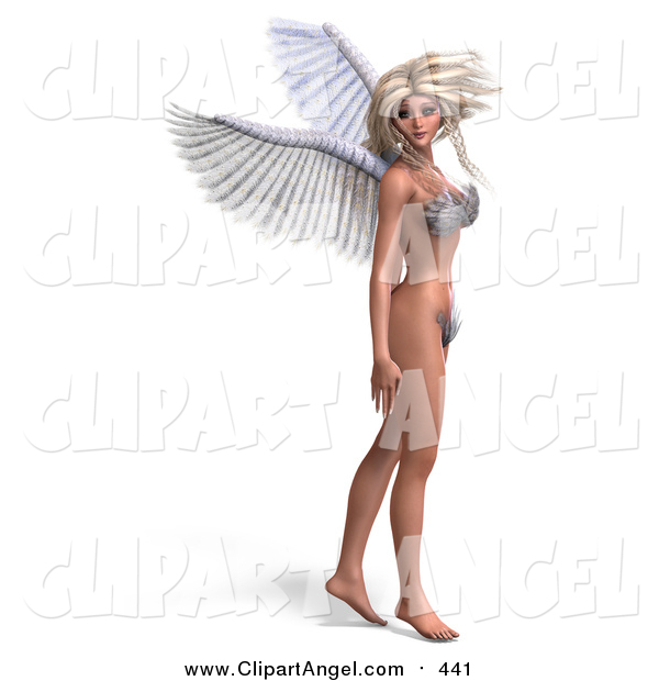 Illustration of a 3d Blond White Female Angel or Fairy Standing in a Bikini