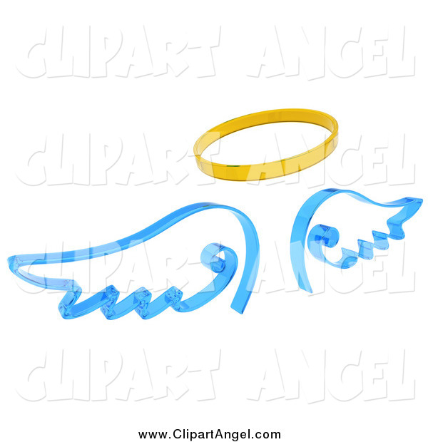Illustration of a 3d Halo and Blue Angel Wings