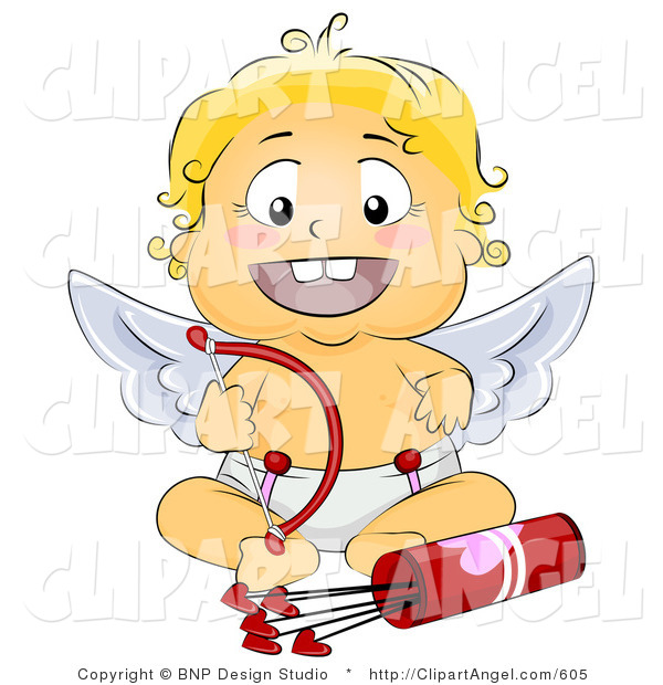 Illustration of a Baby Angel with Love Arrows