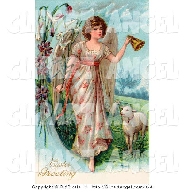 Illustration of a Beautiful Caucasian Victorian Easter Angel Ringing a Bell and Leading Sheep