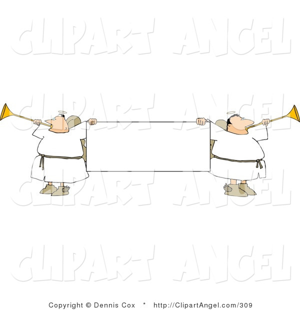 Illustration of a Blank Banner Flocked with Angles Playing Horns