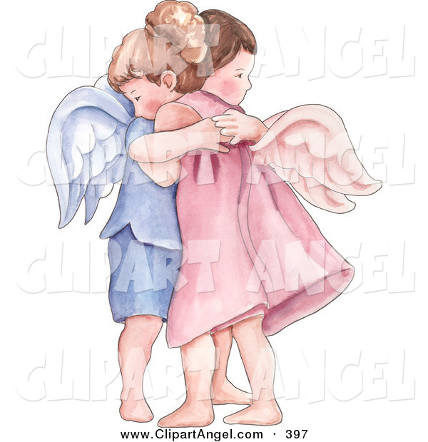 Illustration of a Caucasian Boy and Girl Angel Hugging