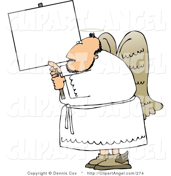 Illustration of a Chubby Angel Guy Holding a Blank Sign