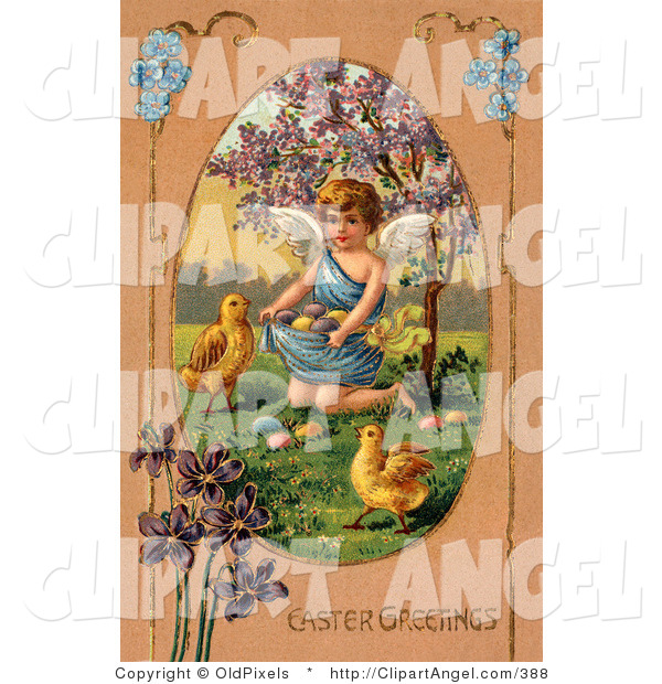 Illustration of a Cute Little Victorian Angel Surrounded by Chicks, Kneeling and Gathering Easter Eggs in Her Gown