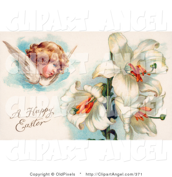 Illustration of a Cute Victorian Cherub Angel Flying near White Easter Lily Flowers