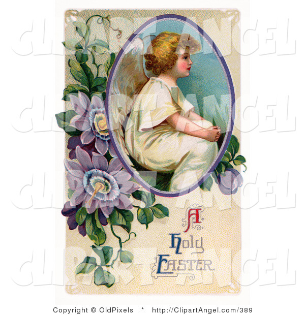 Illustration of a Cute Victorian Easter Cherub Angel Seated in a Circle with Purple Passion Flowers