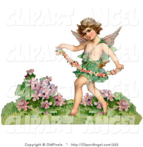 Illustration of a Cute Vintage Valentine of a Cupid Playfully Running Through a Garden and Carrying a Garland of Flowers, Circa 1888