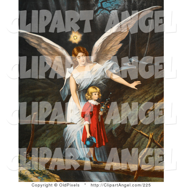 Illustration of a Cute Vintage Valentine of a Female Guardian Angel Guiding a Little Girl in a Red Dress Across a Dangerous Log Bridge over a Gorge, Circa 1890