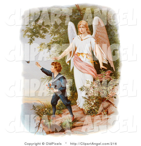 Illustration of a Cute Vintage Valentine of a Female Guardian Angel Watching over a Little Boy As He Picks Flowers and Chases Butterflies at the Edge of a Cliff, Circa 1890