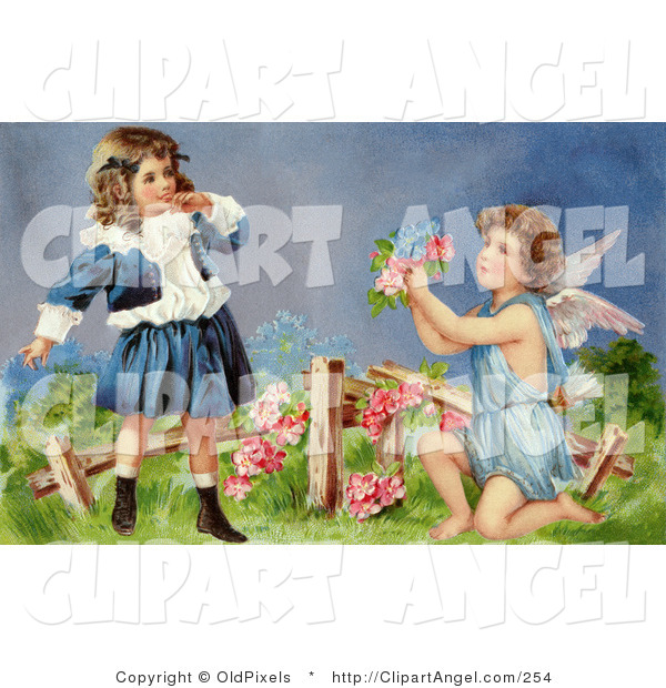 Illustration of a Cute Vintage Valentine of a Surprised Little Girl Leaning Back While Cupid Kneels Before Her, Offering Her Flowers in a Garden, Circa 1905