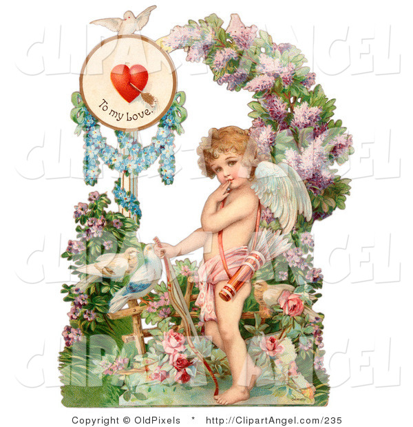 Illustration of a Cute Vintage Valentine of Cupid Resting His Bow on the Ground in a Flower Garden Circa 1890