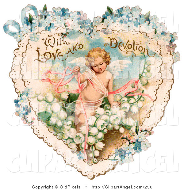 Illustration of a Cute Vintage Valentine of Cupid with Ribbons, Prancing in White Lily of the Valley Flowers on a Lacy Heart with Forget Me Not Flowers, Circa 1890
