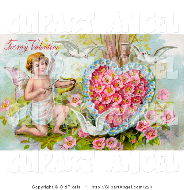 Illustration of a Cute Vintage Valentine of Three White Doves Flying Around Cupid Aiming an Arrow at a Heart Made of Pink Poppies and Blue Forget Me Nots, Circa 1910