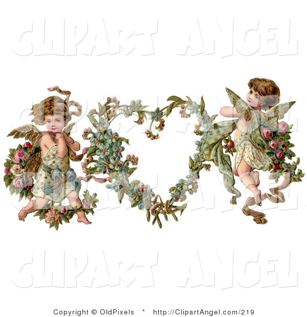 Illustration of a Cute Vintage Valentine of Two Adorable Cupids with Roses Beside a Gilded Forget Me Not Valentine Heart Wreath