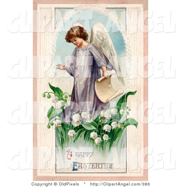 Illustration of a Cute Young Victorian Easter Angel Carrying a Scroll and Walking in Lily of the Valley Flowers