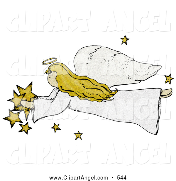 Illustration of a Folk Art Styled Angel with Stars Flying Left