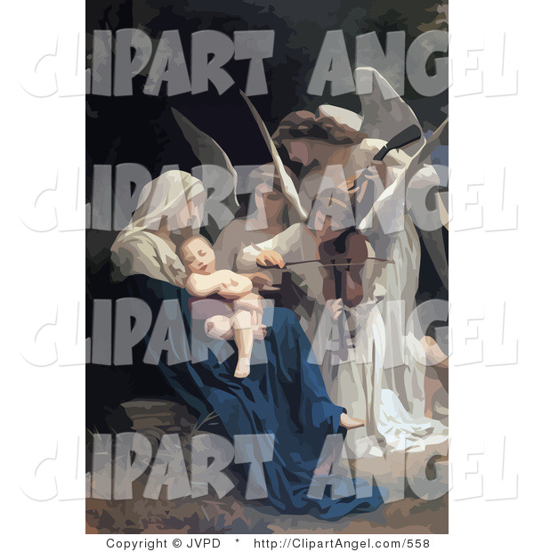 Illustration of a Group of Beautiful Angels Playing Music for a Newborn Baby