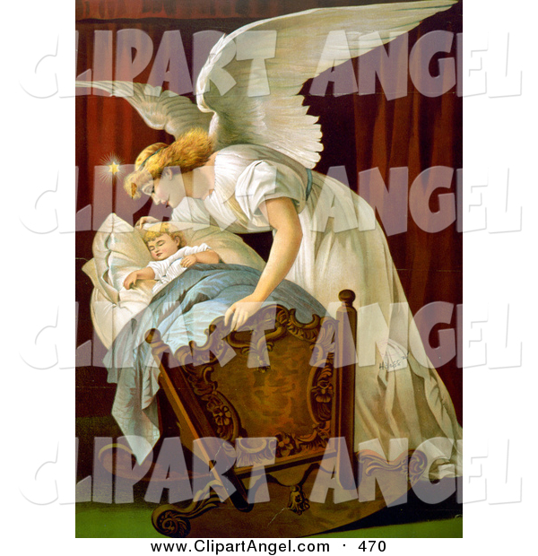 Illustration of a Guardian Angel Rocking a Baby Cradle