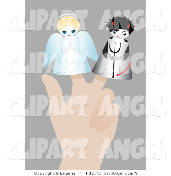 Illustration of a Hand Using Angel and Devil Finger Puppets