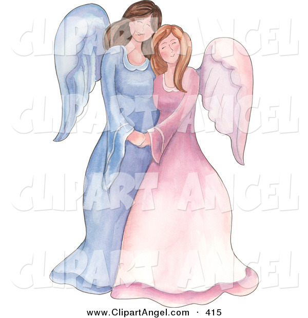 Illustration of a Mother and Daughter or Sister Angels Standing Together and Holding Hands