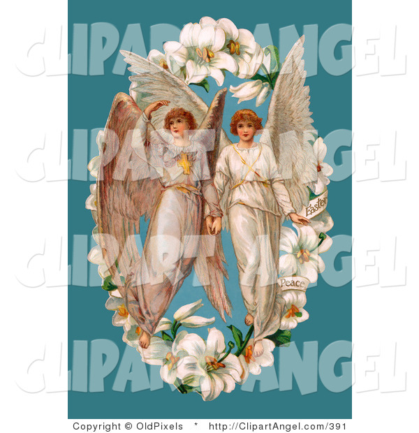 Illustration of a Pair of Victorian Angels in the Center of an Easter Lily Garland, over a Blue Background