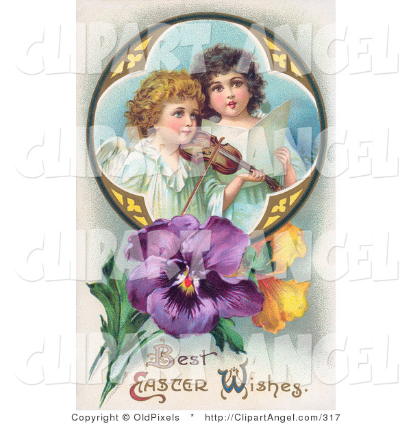 Illustration of a Pair of Young Victorian Angels Singing and Playing Easter Music with a Violin, in a Circle with Pansies