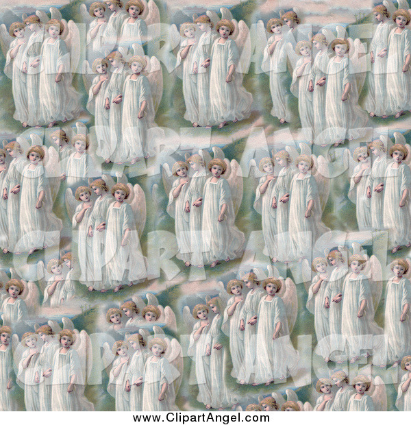Illustration of a Pattern of Victorian Angels