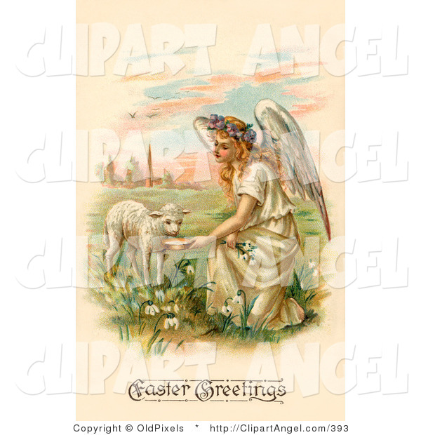 Illustration of a Pretty Blond Haired Female Victorian Easter Angel Kneeling down and Feeding a Lamb