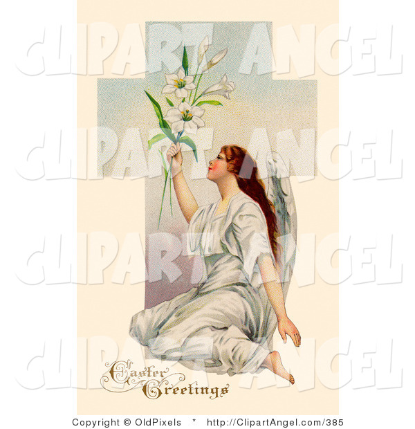 Illustration of a Pretty Victorian Angel Sitting on the Ground and Holding up Easter Lilies in Front of a Cross