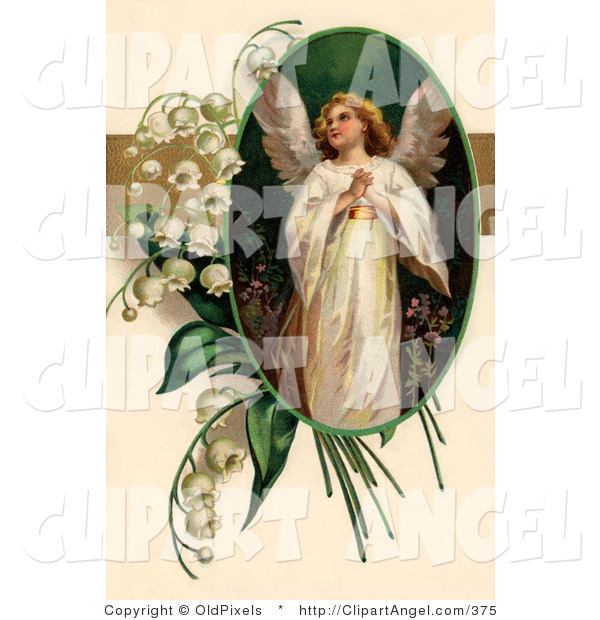 Illustration of a Sweet Beautiful Victorian Easter Angel Looking Upwards, in an Oval Adorned by Lily of the Valley Flowers