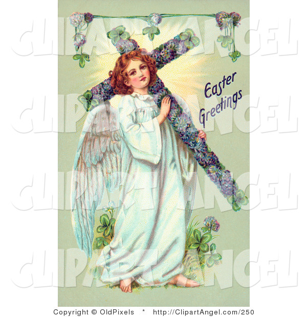 Illustration of a Sweet Victorian Angel Carrying an Easter Cross