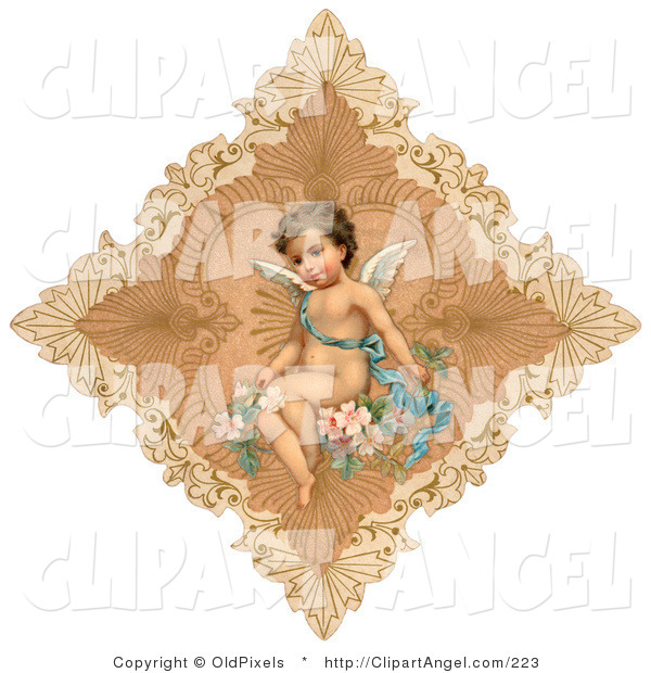 Illustration of a Sweet Vintage Valentine of a Cute Cupid Draped in a Blue Ribbon, Sitting on Pink Flowers in the Center of a Delicate Diamond