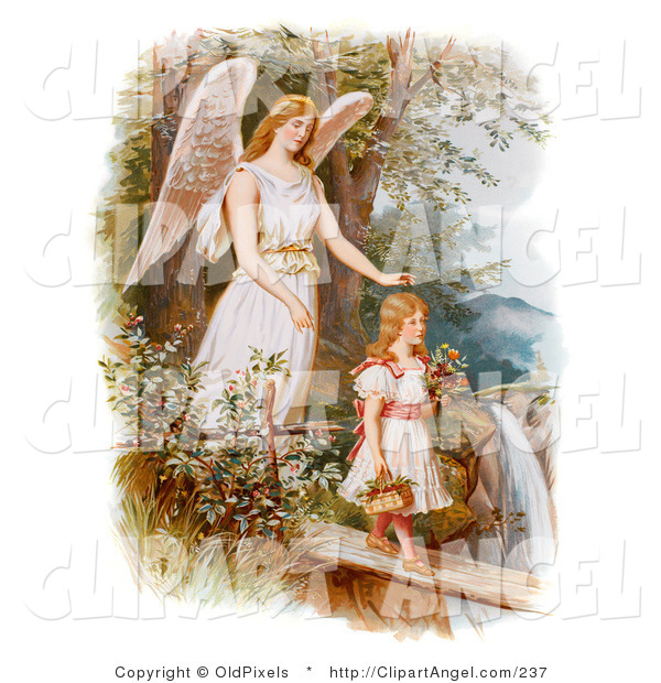 Illustration of a Sweet Vintage Valentine of a Female Guardian Angel Looking over a Little Girl As She Carries Flowers and a Basket Across a Log over a Cliff and River, Circa 1890