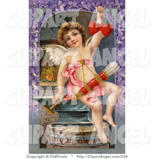 Illustration of a Sweet Vintage Valentine of Cupid Forging Two Valentine Hearts, Sitting on an Anvil with Arrows Hanging from His Chest, Circa 1911.