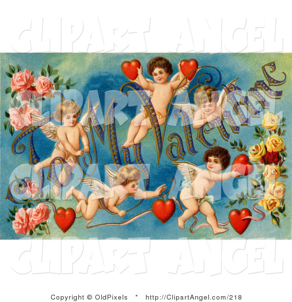 "Illustration of a Sweet Vintage Valentine of Five Playful Cupids with Roses, Decorated ""To My Valentine"" Text with Red Hearts, Circa 1911"