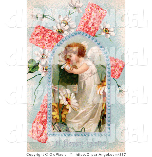 Illustration of a Sweet Young Victorian Easter Angel Smelling Spring Flowers, in a Window over a Pink Floral Cross with Poet's Daffodils