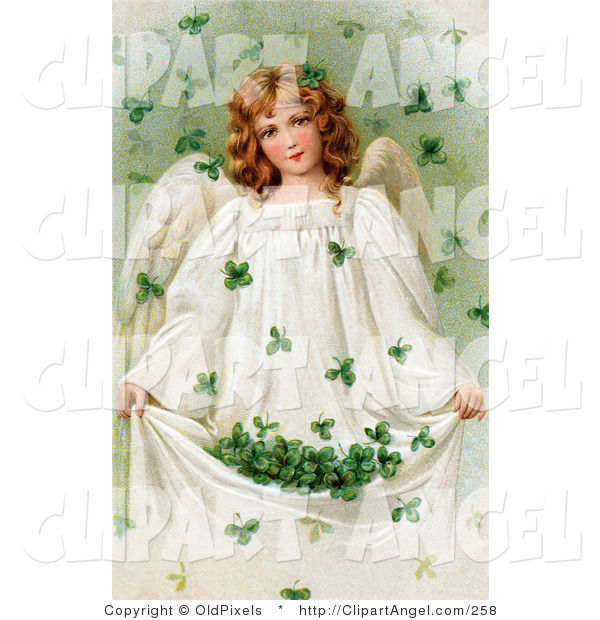 Illustration of a Vintage Victorian St Patrick's Day Scene of a Pretty Young Irish Angel Holding up Her Gown to Catch Falling Clovers, Circa 1909
