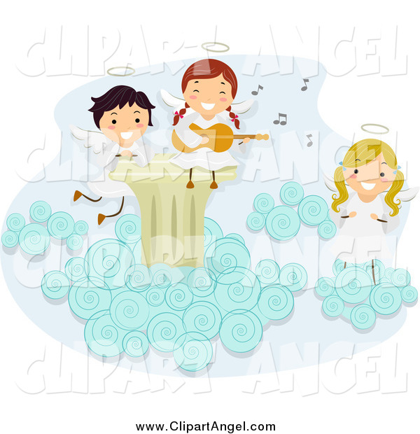 Illustration Vector Cartoon of a Angel Kids Singing and Playing Instruments on a Cloud