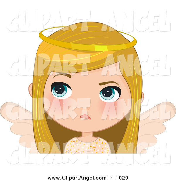 Illustration Vector Cartoon of a Annoyed Blond White Angel Christmas Girl