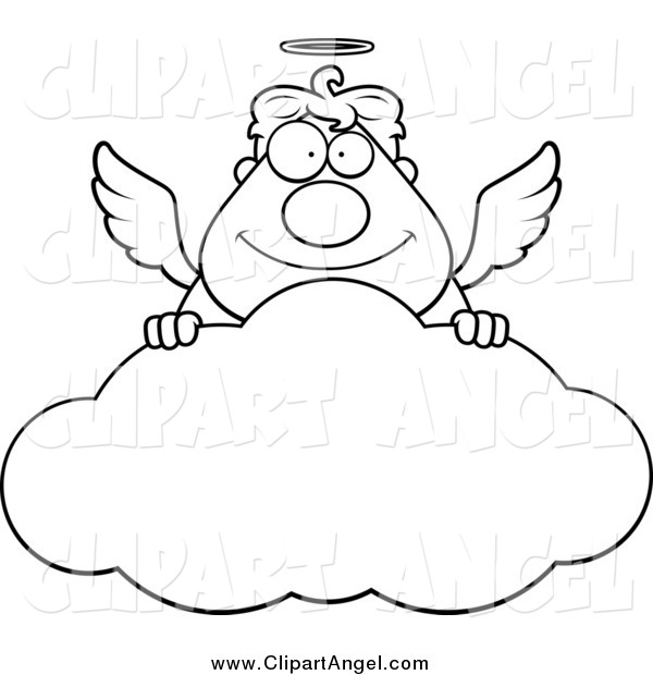 Illustration Vector Cartoon of a Black and White Angel Man Smiling over a Cloud