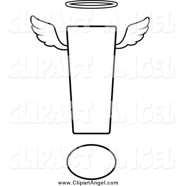Illustration Vector Cartoon of a Black and White Angelic Exclamation Point