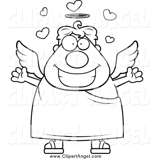 Illustration Vector Cartoon of a Black and White Chubby Loving Angel