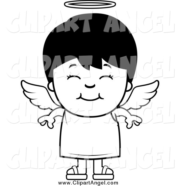 Illustration Vector Cartoon of a Black and White Happy Angel Boy