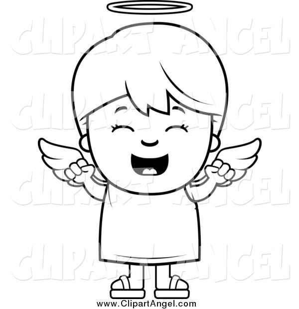 Illustration Vector Cartoon of a Black and White Happy Angel Boy Cheering