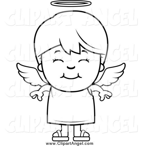 Illustration Vector Cartoon of a Black and White Happy Smiling Angel Boy